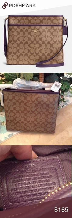 """NWT COACH -File Bag in Signature Coated Canvas Signature coated canvas, zip top closure, fabric lining, inside zip, cell phone and multifunction pockets, long-strap with 21 1/2"""" drop for shoulder or cross body wear, 11 3/4"""" (L) x 10 1/4"""" (H) x 2"""" (W). Color: imitation gold/khaki aubergine Coach Bags"""