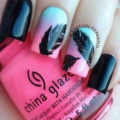 China Glaze, party, nails, feathers, black, pink, details,art, pretty, fashion, style, polish, glaze