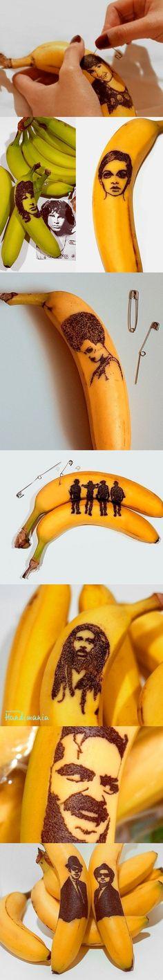 cool Banana portraits -- good for an art challenge day