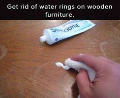 Get rid of water rings with toothpaste