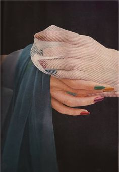 Seamless and lace stockings and stained glass-coloured nails. Photo: Saul Leiter.