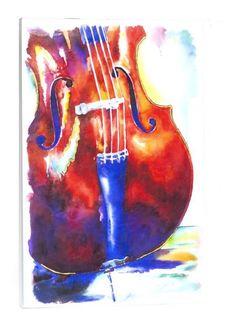 Cello Watercolor: print of Cello artwork by Jamie Hansen - Jamie Hansen Art Music Drawings, Music Artwork, Art Music, Watercolor Artwork, Watercolor Print, Watercolor Illustration, Cellos, Cello Art, Cello Music