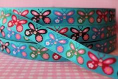 Lillestoff Webband Borte Scandifly Schmetterlinge Blumen Länge 2m