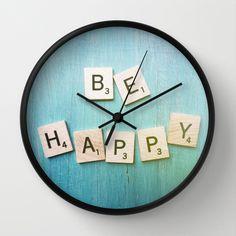 Be Happy Wall Clock by Olivia Joy StClaire - $30.00