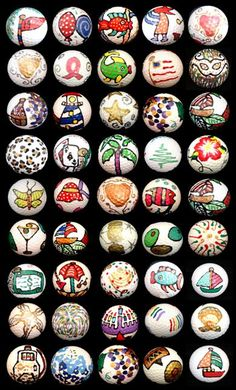 45 decorated golf balls, wow so much to pick from!