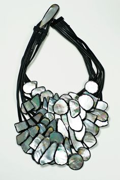 Monies Abalone and Leather Multi Strand Necklace