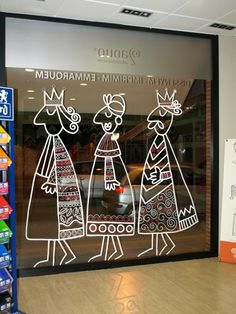 Remins me of the wise men Christmas Window Display, Christmas Window Decorations, Christmas Wall Art, Christmas Drawing, Noel Christmas, Winter Christmas, Christmas Doodles, Window Art, Window Stickers