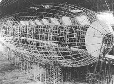 The USS Akron under construction, with the frame completed..
