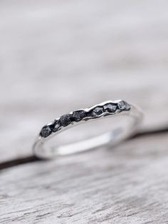 Raw black diamond ring // Hidden Gems - Gardens of the Sun Jewelry It truly is a girl's best friend. Uncut, raw, real and strong, but still absolutely beautiful.
