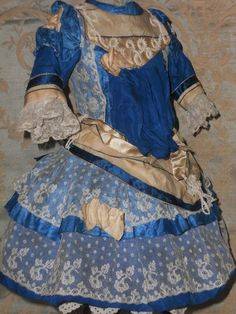 ~~~ Pretty French Blue Silk Bebe Costume with Bonnet ~~~ from whendreamscometrue on Ruby Lane
