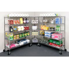 Set up your storage room and organinze every wall with a 5-Tier Corner Chrome Wire Shelving System and 2 Side Units
