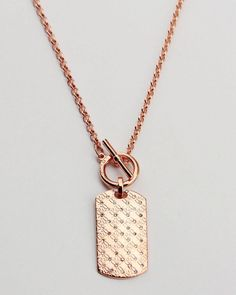 184b35b968c07 Michael Kors ROSE GOLD Tone Heritage Monogram Dog Tag Pendant Necklace in  Jewelry   Watches