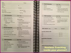 Our Planner - complete with HOSTESS COACHING section!  www.facebook.com/ThePartyPlanSecret