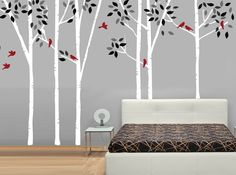 Birch Trees with Birds Fabric Wall Decal by StudioWallDecals, $150.00