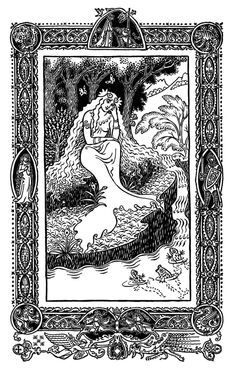 Woman talking to fish. Probably by Frank C. Papé for an edition of Domnei by James Branch Cabell in 1930.