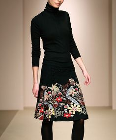 Black Floral Wool-Blend A-Line Skirt - Women, Desigual