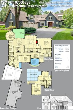 Architectural Designs House Plan 970055VC has a classic facade with a courtyard garage, covered entry and an eyebrow dormer. 3BR | 3.5BA | 3,200 Sq.Ft. | Ready when you are. Where do YOU want to build? #970055VC #adhouseplans #architecturaldesigns #houseplan #architecture #newhome #newconstruction #newhouse #homedesign #dreamhome #dreamhouse #homeplan #architecture #architect