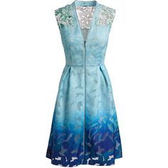 Elie Tahari Kalli Sleeveless Zip-Front Ombre Lace Dress (3.310 DKK) ❤ liked on Polyvore featuring dresses, v neck dress, blue sleeveless dress, floral dresses, lace a line dress and blue floral dresses