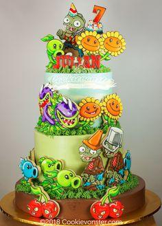 Plants Vs Zombies Cake Zombie Birthday Cakes, Zombie Birthday Parties, Baby Birthday Cakes, Zombie Decorations, Balloon Decorations Party, Plants Vs Zombies, Kids Zombie Party, Plant Zombie, Plant Vs Zombie Cake