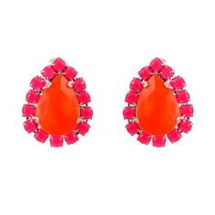 Neon Orange Teardrop with Neon Pink Pave Crystal