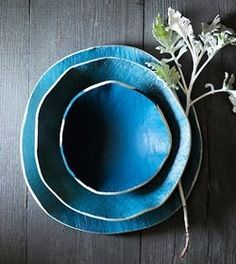 sea blue Ceramic bowls and platters