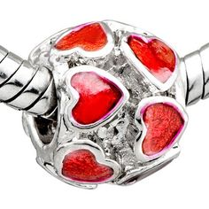 Pugster Red Heart January Birthstone European Beads Love Charms Fit Pandora Chamilia Biagi Charms Bracelet $9.29