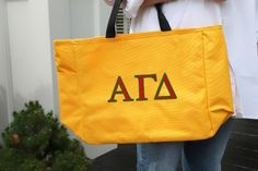 Personalized Tote Bag with Greek Life Girl monogrammed Alpha Gamma Delta in two tone.