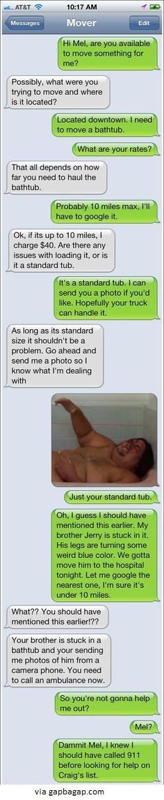 .Hilarious Text About Mover vs Bathtub LOL
