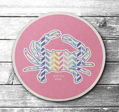 Arrow Crab (Pastel Pink) / Cork Coaster #Coasters #Maryland