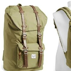 Little America Backpack By Madwell Nylon fabric, green shade, leather detail *No trades on this item* Madewell Bags Backpacks