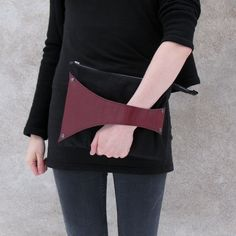 Leather Detail Bag in Black Fabric  Wine Red by SalmiakStudio, $52.00