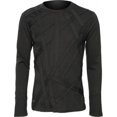 A black cotton long-sleeve shirt for men, from the Queen of Darkness gothic clothing brand. Detailed with criss-crossing strap applications on front.