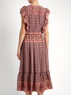 Selene Camellia Border-print silk-habotai dress | Sea | MATCHESFASHION.COM