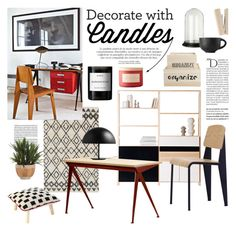 """using candles in your office"" by jesuisunlapin ❤ liked on Polyvore featuring interior, interiors, interior design, home, home decor, interior decorating, Balmain, Edition, Miss Etoile and Vitra"