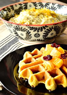 Gluten-Free and Dairy-Free Waffles with Cranberries and Orange | ReluctantEntertainer.com
