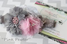 baby+headband+Pink+Pewter+pink+white+gray+by+MudpiesandPigtails,+$12.95