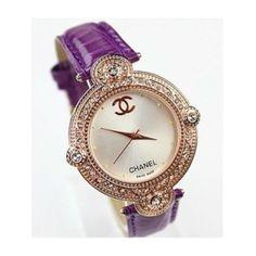 Chanel Purple Wristband Watch