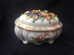 Antique Royal Vienna Austria Porcelain Flower Covered Jewelry  Box #royalVienna
