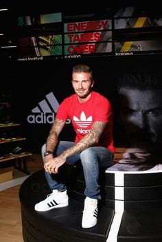 David Beckham wearing  Adidas Originals Superstar Pro OG, Adidas Originals Miami Logo T-Shirt