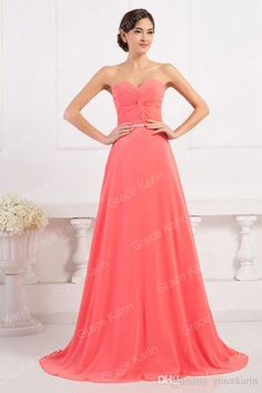 Grace Karin 2015 Newest Graceful Strapless Chiffon Ball Gown Formal Watermelon Evening Bridesmaid Prom Dress 8 Size US 2~16 CL6298, $30.11 | DHgate.com