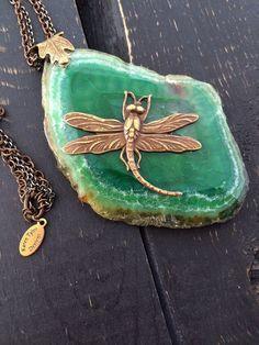 Agate Slice Necklace Dragonfly Necklace by KarenTylerDesigns, $42.99