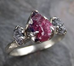 Raw Rough Black Diamond Ruby Multi Stone Ring 14k White Gold red Gemstone Engagement birthstone Ring