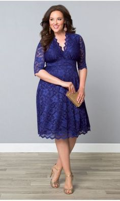 Mademoiselle Lace Dress in Sapphire Blue by Kiyonna