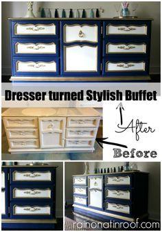 LOVE these colors together!  Dresser turned Buffet {rainonatinroof.com} #furnituremakeover #diy