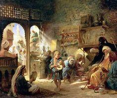 Coffee House in Cairo Konstantin Egorovich Makovsky (1839 - 1915, Russian)