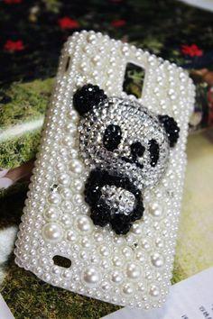 Handmade Charms Bear Pearl Rhinestone Bling Phone Case For T-mobile Samsung Galaxy S 2 II S2 T989