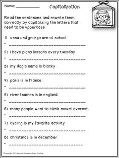 Capitalization, Commas & End Punctuation - CCSS aligned Writing Sentences Worksheets, Punctuation Worksheets, Nouns Worksheet, 2nd Grade Math Worksheets, Grammar And Punctuation, Sentence Writing, 1st Grade Activities, Homeschool Worksheets, Teaching Grammar