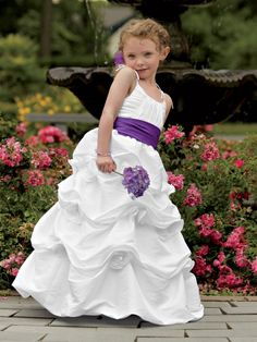 Taffeta dress with pick ups and flower accents