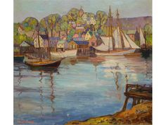 """Untitled harbor scene (Gloucester?), Fern Isabel Coppedge, oil on canvas, 18 x 20"""", private collection."""