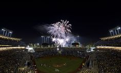 CrowdCam Hot Shot: General view of fireworks after the game between the Los Angeles Dodgers and the San Francisco Giants at Dodger Stadium. Photo by Kirby Lee